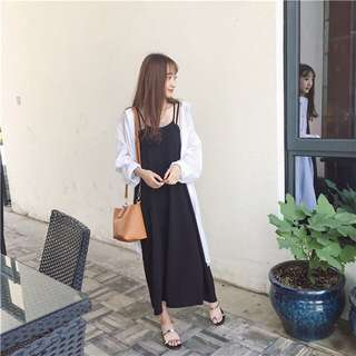 Black Coloured Korean Style Camisole Long Dress