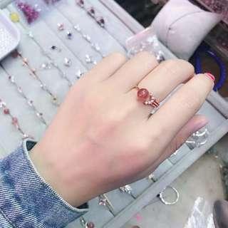 草莓晶纯银戒指❤️