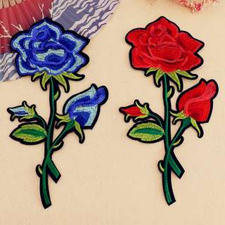 Iron on Patch, big flower (blue or red rose)