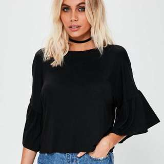 Missguided Black Fluted Sleeve Top