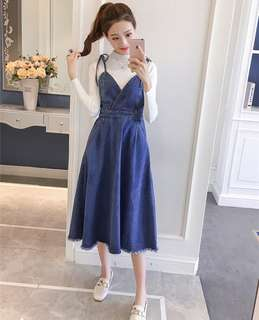 V-Neck With Ribbon Tie Straps Korean Style Overall Dress