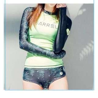 2 Piece Rashguard Mint Green Long sleeves Boyleg swimwear