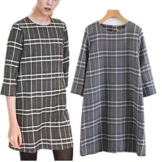 European round necklace pearl plaid casual dress A word dress