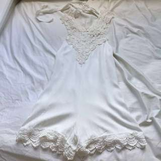 Reverse Lace White Playsuit