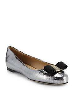 Salvatore Ferragamo - Varina Crackled Metallic Leather Bow Ballet Flats. Size 35C