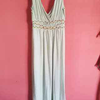 Classy turquoise maxi dress with gold details. Condition 9.5/10. MOTHERS DAY PROMO
