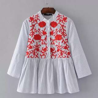 Chest flowers heavy embroidery seven sleeves doll fitted head shirt