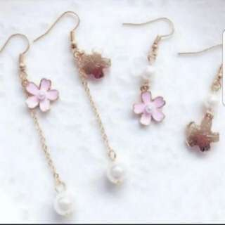 Pink Sakura earring, Pink cherry blossom dangle earrings