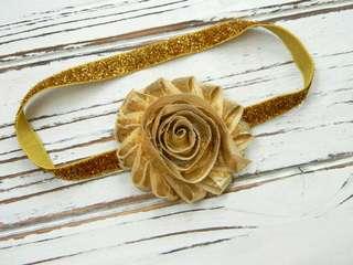 Gold Shabby Flower Headband