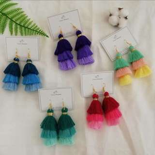 Colorful tassel big earring
