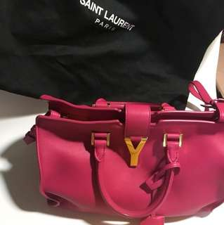 YSL/ Saint Laurent Paris Petit Cabas Y 桃紅色 手袋