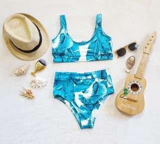 Tropical two piece high waist bikini