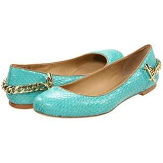 QYOP Rachel Zoe Laura Aqua Chain Snakeskin Ballet Flats - US 7