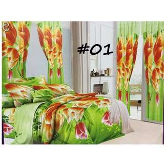 5in1 POLY-COTTON QUEEN SIZE BEDSHEET SET with CURTAIN