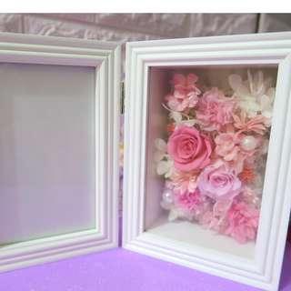4R保鮮花相架 粉紅玫瑰康乃馨+西瓜紅色 母親節禮物