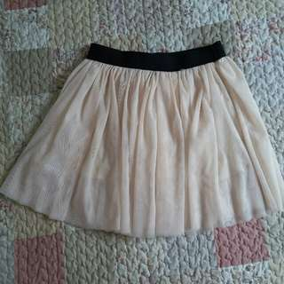 Cream Pleated tutu Skirt