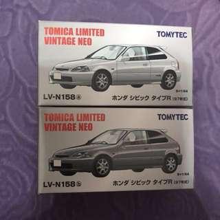 全新日版Tomytec Tomica Limited Vintage NEO LV-N158a & b Honda Civic TypeR 97