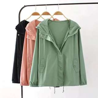 (XL~3XL) Spring and Autumn thin section hooded jacket casual jacket trench coat