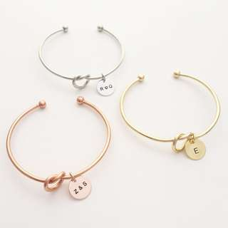 """BL043- Personalized Bangle Bracelet  - Personalise Your Initials """"Z&S"""", """"R❤️Q"""", """"E"""" - All Capital letters only-Max 3 Alphabets Hand Stamp -Made to Order"""
