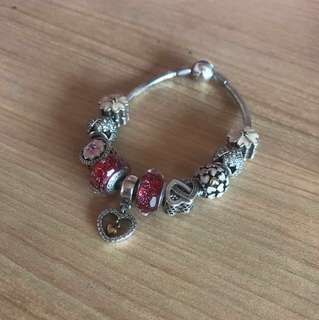 Pandora Bracelet (Refer to picture 2 for the additional charm and remaining charms available!)