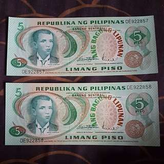 1970s 2nd Issue Central Bank of the Philippines 5 Piso **Running Serial**