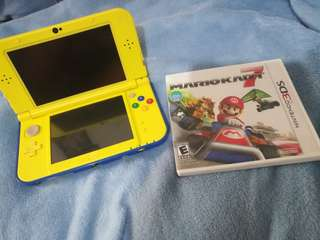 New 3DS XL Pikachu edition w/Mario Kart 7 game