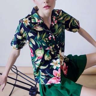 ARGYLE & OXFORD FLORAL SHIRT / BAJU HAWAII / HAWAIIAN SHIRT (BLACK)