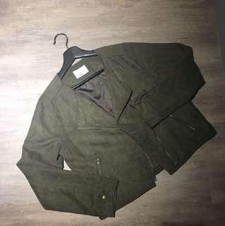 OLIVE des OLIVE墨綠色麂皮薄短外套