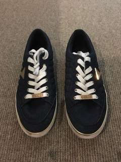 Authentic Guess Denim Gold Sneakers Casual Womens Shoes