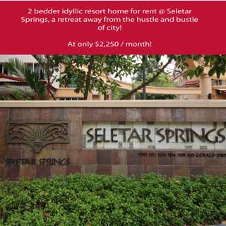 2 bedder idyllic resort home for rent @ Seletar Springs