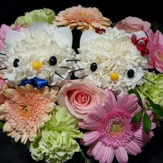 Fresh Flower Face Hello Kitty Bouquet Package