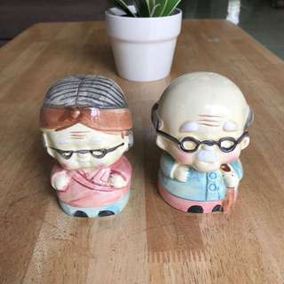 Antique porcelain elderly couple