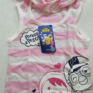 Cute baby pororo singlet with hoodie brand new from korea