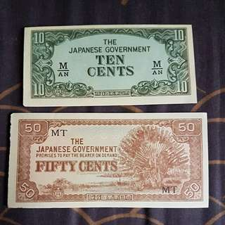 1942-45 Malaya Japanese Occupation 10cents & 50cents banknote