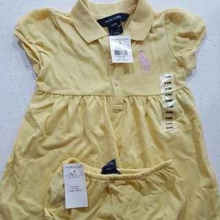 Baby brand new authentic polo ralph lauren dress set w