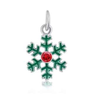 Green with Red Crystal Center Snowflake Charm