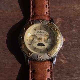 Vintage Calinda Leather strap Dress Watch