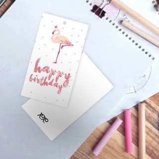 Flamingo Birthday Bookmark card tag