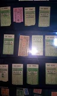 50-60年代九巴,中巴,電車票[共12張]