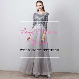 *Brand New* Tania Wedding Bridal Black / Grey Long Sleeeves Gown Dress
