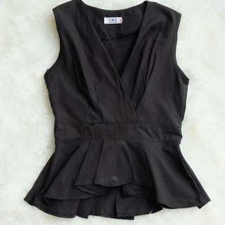 BANGKOK IMPORT PEPLUM V NECK TANK IN BLACK