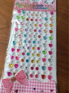 Colorful gems and pearls stickers in strips - ready stock