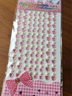 Baby light pink gems and pearls stickers in strips - ready stock