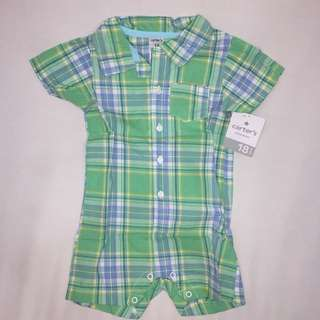 Carter's Green checkered onesie