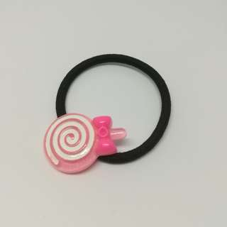 Pink lollipop hair tie