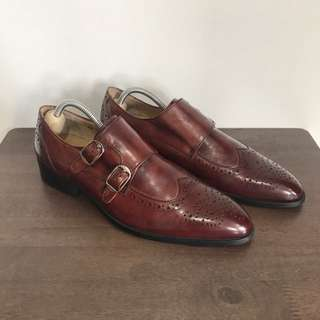 Mr. Collection Burgundy Double Monkstrap Formal Leather Shoes