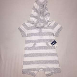 Old navy gray striped onesie with hood