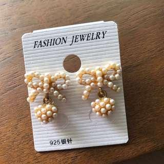 Pearl Bow Dangle Earrings