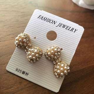 Pearl crystal stud Korea earrings