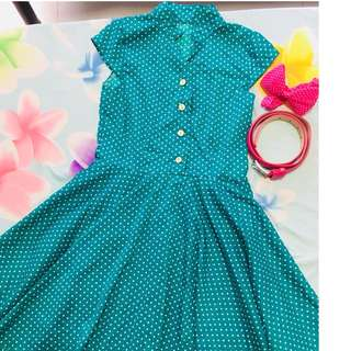 Vintage Polka dot dress and accessories